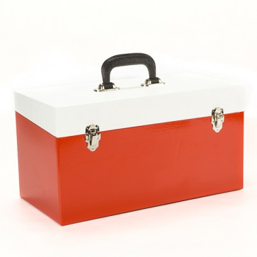 NEW Large Double Red & White 45 Record Box